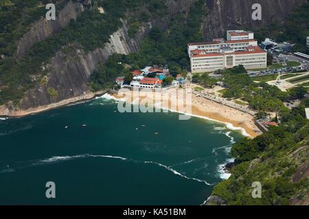 Red Beach (Praia Vermelha) seen from Sugarloaf Mountain, Rio de Janeiro, Brazil, South America - Stock Photo