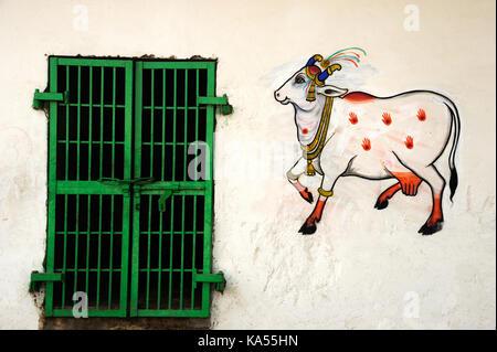 painting on wall Gaushala nathdwara shrinathji temple rajasthan , India, Asia - Stock Photo