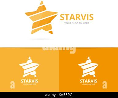 Vector of star logo combination. Leader and celebrate symbol or icon. Unique achievement and luxury logotype design - Stock Photo
