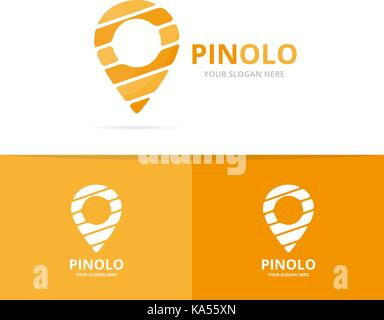 Vector of map pointer logo combination. GPS locator and pin symbol or icon. Unique navigation and marker logotype - Stock Photo
