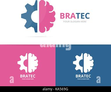 Vector Brain And Gear Logo Combination Education And Mechanic