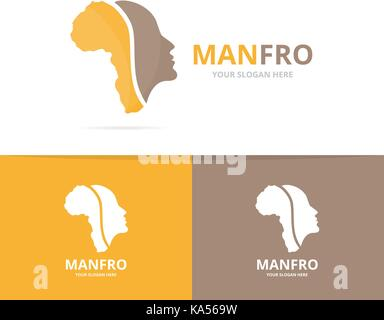 Vector africa and face logo combination. Safari and people symbol or icon. Unique continent and man logotype design - Stock Photo