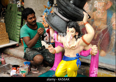 Final touch of artist replica of bahubali ganesh, mumbai, maharashtra, India, Asia MR#790B - Stock Photo