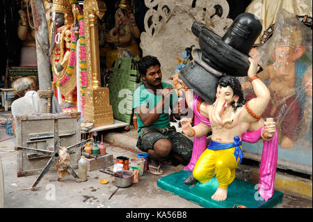 Final touch of artist replica of bahubali ganesh, mumbai, maharashtra, India, Asia MR#790B - Stock Photo