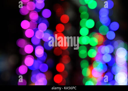 Abstract Colorful lanterns bokeh background diwali festival, mumbai, maharashtra, India, Asia - Stock Photo