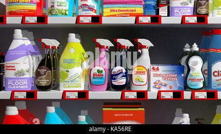 Various 3D household products on supermarket shelve - Stock Photo