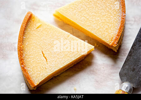 Two slices of lemon tart. Tarte au limon - Stock Photo