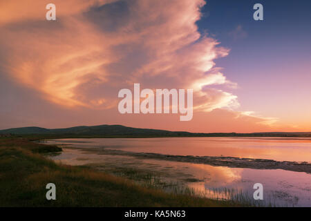 The grasslands and rivers of Inner Mongolia - Stock Photo