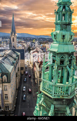 The view from the town hall in Liberec in direction of streer železná - Stock Photo