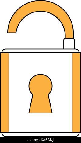 cartoon padlock security - Stock Photo