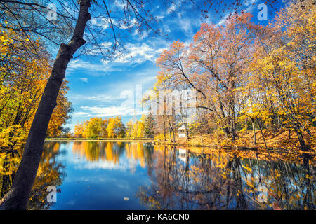 Sunny autumn in the park over lake - Stock Photo