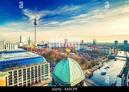 Aerial view on Berlin - Stock Photo