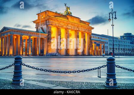 Brandenburg gate at dusk - Stock Photo
