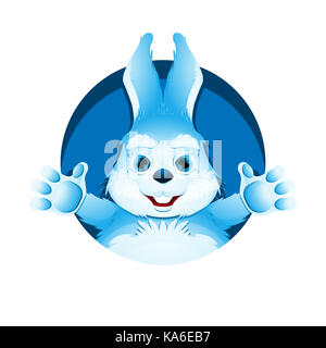 Avatar of cute blue bunny. Portrait of funny rabbit for user profile picture. - Stock Photo