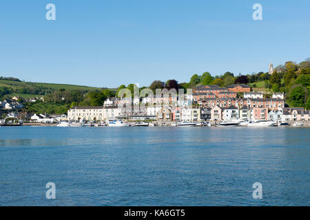 Dart Marina and Dartmouth Higher Ferry from Kingswear side of the River Dart. - Stock Photo