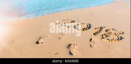 Year 2018 written on the sand at the seashore - Stock Photo