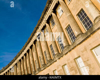 Section of the Georgian masterpiece The Royal Crescent in Bath,Somerset, England, UK. - Stock Photo