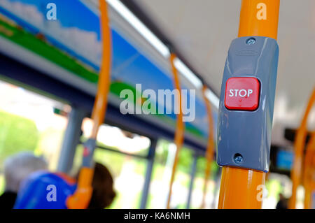 public transport bus stop red button - Stock Photo