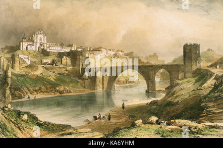 Nicolas Chapuy (1790-1858). French lithographer, specialized in the design of monuments. Alcantara bridge on the - Stock Photo