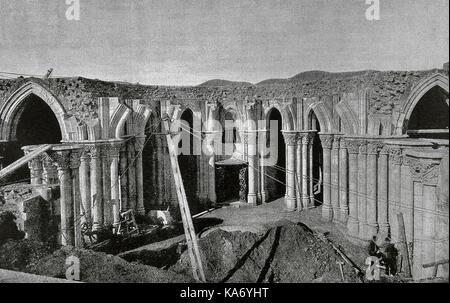Spain. Catalonia. Barcelona. The Sagrada Familia under construction. 'La Ilustracion', 1887. Photography. - Stock Photo