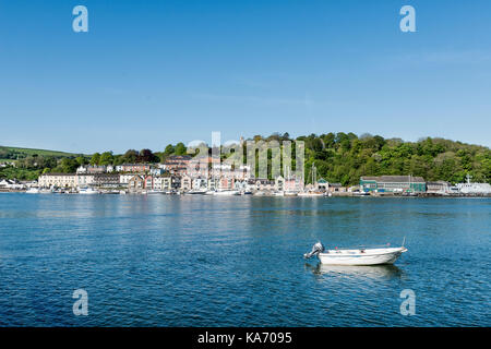 View to Britannia Royal Naval College and Dart Marina Hotel from Kingswear across the River Dart, small craft in - Stock Photo