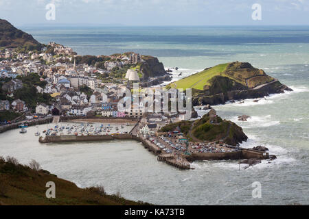 Seaside town of Ilfracombe in North Devon, England. Viewed from high cliffs on the South West coast path. - Stock Photo