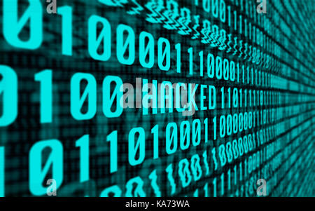 Concept With a Screen Full of Binary Computer Data Glitching into the Word 'Hacked' - Stock Photo