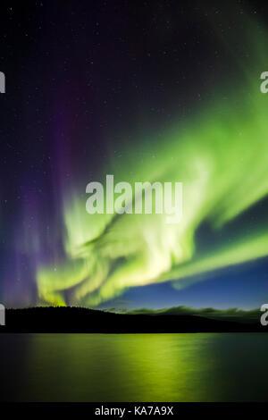 Northern Lights over Lake Luirojärvi - Stock Photo