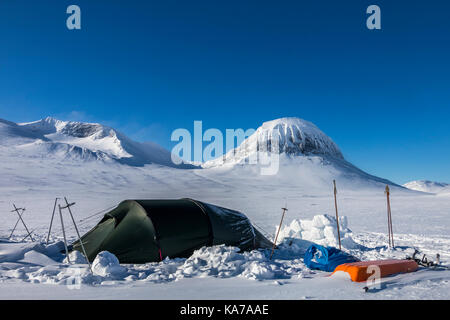 Tunnel tent in Sarek national park - Stock Photo