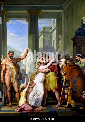 Hercules leading a resuscitated Alcestis to her husband Admetus, 1817-1829 fresco by Pietro Benvenuti (1769-1844). - Stock Photo