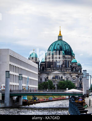 Berliner Dom, Berlin Cathedral ,historic old church building and modern city palace facade next to the river Spree, - Stock Photo