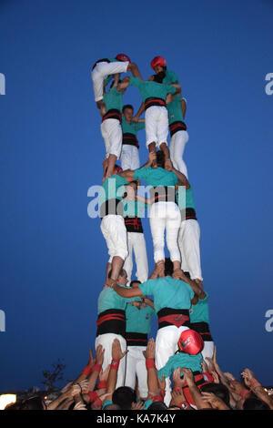 Catalonia, Spain Sep 2017. Castellers of Vilafranca del Penedes practising their human towers