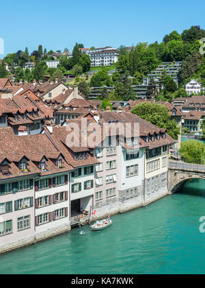 Bern, Switzerland - May 26, 2016: Architecture of the old European town, coastal landscape in Bern (Unesco Heritage), - Stock Photo