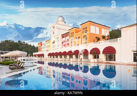 TEKIROVA TURKEY - APRIL 25 2017: Swimming pool and beach of luxury hotel. Type entertainment complex. Amara Dolce - Stock Photo