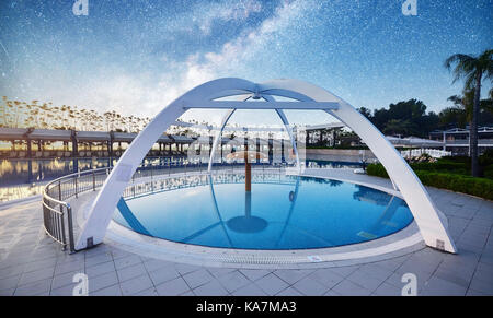 TEKIROVA TURKEY - APRIL 25 2017: Type entertainment complex. The popular resort with pools and water parks in Turkey - Stock Photo