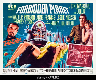 Forbidden Planet (1956) directed by Fred McLeod Wilcox and starring Walter Pidgeon, Anne Francis, and Leslie Nielsen. - Stock Photo
