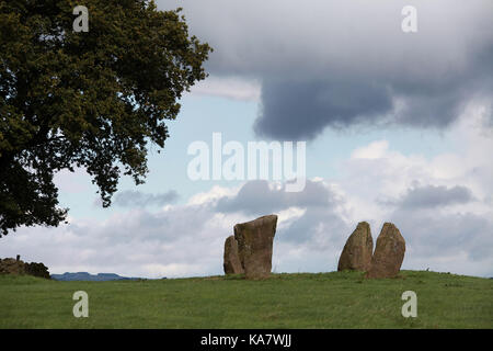 Nine Stones Circle at Harthill Moor near Elton in the Derbyshire Peak District National Park - Stock Photo
