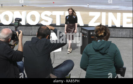 San Sebastian, Spain. 25th Sep, 2017. German-Romanian actress Maria Dragus poses after the presentation of the film - Stock Photo