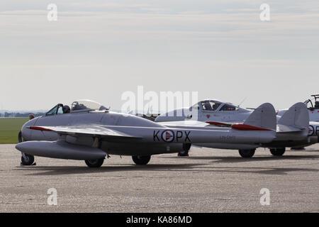 Duxford, UK. 24th Sep, 2017. De Havilland Vampire at the Duxford Battle of Britain Air Show in Duxford, UK. Credit: - Stock Photo