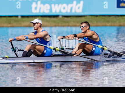 Sarasota-Bradenton, Florida, USA. 25th Sep, 2017. Filippo Mondelli and Luca Rambaldi of team Italy during (M2x) Men's Double Sculls - Heat in the World Rowing Championships being held at Nathan Benderson Park in Sarasota-Bradenton, Florida. Del Mecum/CSM/Alamy Live News