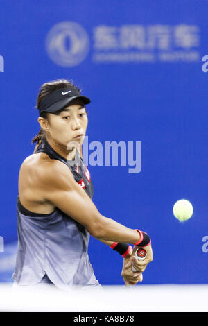 Wuhan, China. 25th Sep, 2017.  (EDITORIAL USE ONLY. CHINA OUT).Chinese tennis player Zhang Shuai defeats Croatian - Stock Photo