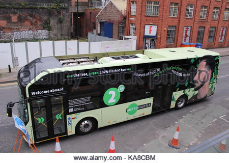 Manchester, UK. 25th Sep, 2017.  A new all electric Volvo bus is on demonstration in Manchester in a UK first. The - Stock Photo