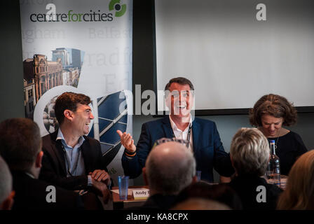Brighton, UK. 25th Sep, 2017. Andy Burnham, mayor of Greater Manchester, and Steve Rotheram, mayor of the Liverpool - Stock Photo