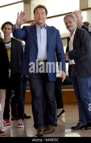 San Sebastian, Spain. 25th Sep, 2017. Arnold Schwarzenegger attends the 'Wonder Of The Sea 3D' photocall during - Stock Photo