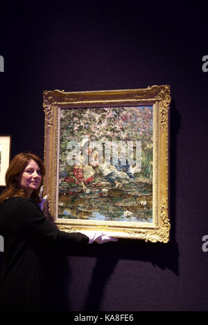 London, UK. 26th Sep, 2017. Bonhams Scottish Art Sale photo call took place in New Bond Street ahead of the sale in Edinburgh on 11th October 2017. Highlights include EDWARD ATKINSON HORNEL(British, 1864-1933)The Lily Pond 75 x 62 cm. (29 1/2 x 24 7/16 in.)£10,000 - 15,000. Credit: Keith Larby/Alamy Live News Stock Photo