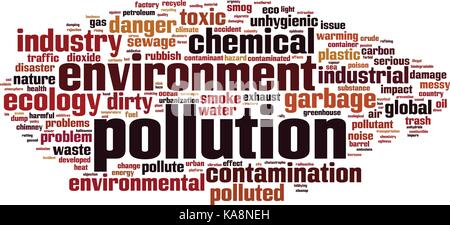 Pollution word cloud concept. Vector illustration - Stock Photo