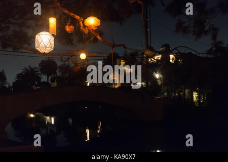 Lanterns hanging outside a residence in Venice, Los Angeles, California, USA - Stock Photo