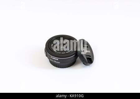 Canon EF-S 24mm f2.8 STM lens - Stock Photo