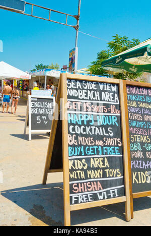 Advertising, deals, Flower Street, Sunny Beach, Bulgaria - Stock Photo
