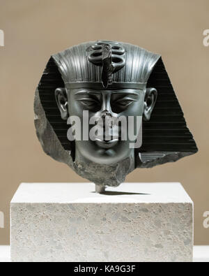 Berlin. Germany. Head of a statue of King Amasis ancient Egyptian pharaoh (Reign: 570-526 BC), Neues Museum. Late - Stock Photo
